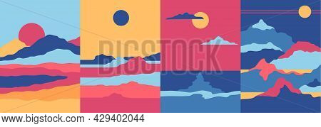 Cartoon Color Abstract Landscape Scene Concept Minimalist Posters Set Flat Design Style. Vector Illu