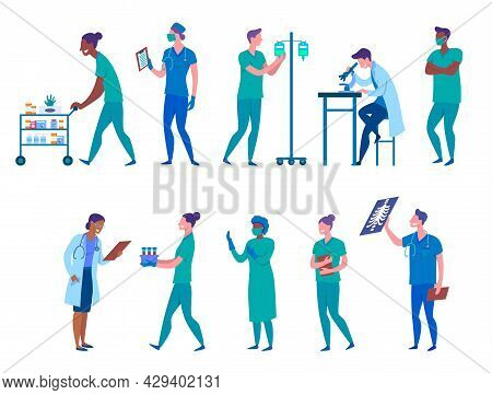 Cartoon Color Characters Medical People Concept Flat Design Style Include Of Doctor, Nurse, Pharmaci