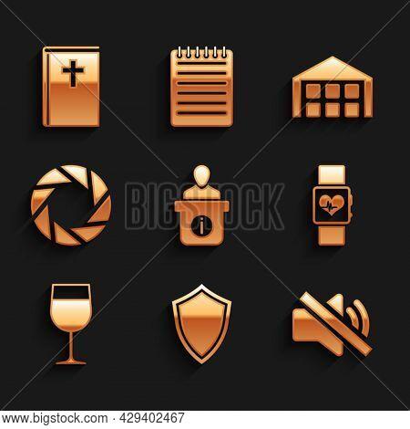 Set Information Desk, Shield, Speaker Mute, Smart Watch Heart Beat Rate, Wine Glass And Camera Shutt