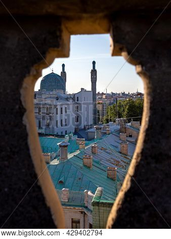 Russia, St. Petersburg, Kronverksky Prospect, Cathedral Mosque, August 2021. View Of The Mosque From