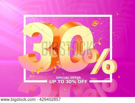 30 Off. Discount Creative Composition. 3d Golden Sale Symbol With Decorative Objects, Golden Confett