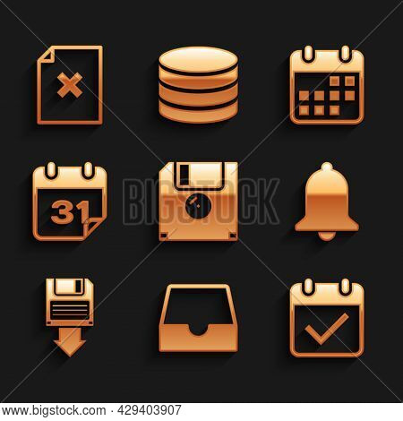 Set Floppy Disk, Social Media Inbox, Calendar With Check Mark, Ringing Bell, Backup And Icon. Vector