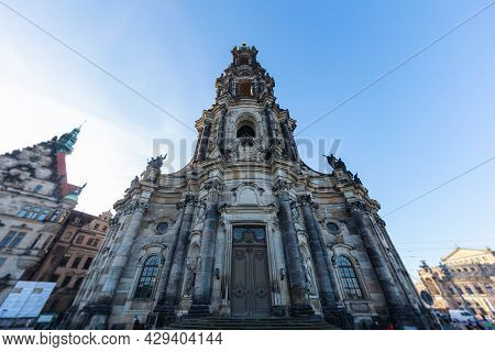 Dresden, Germany - December 17,2020: Cityscape Of The City Of Dresden, Germany, The Katholische Hofk