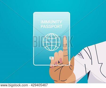 Human Hand Touching Virtual Global Immunity Passport Risk Free Covid-19 Re-infection Coronavirus Imm
