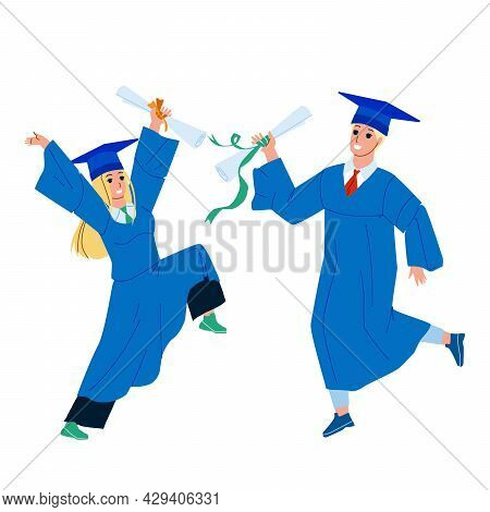 Alumnus Boy And Girl College Graduation Vector. Students Alumnus In Academy Cap And Gown Mantle With