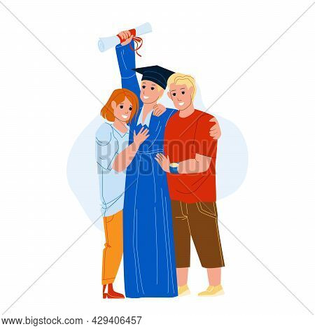 Graduation Ceremony Celebrate Student Boy Vector. Boy Holding Diploma And Posing With Parents Mother