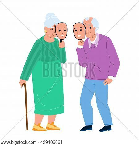 Ageism Of Elderly Man And Woman Couple Vector. Old Grandfather And Grandmother With Young People Fac