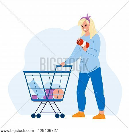 Customer With Market Cart Choosing Food Vector. Young Woman Customer Choose Conserve And Buying Prod