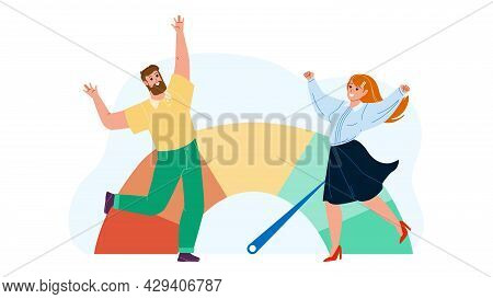 Good Credit Score Celebrate Man And Woman Vector. Businessman And Businesswoman Dancing And Celebrat