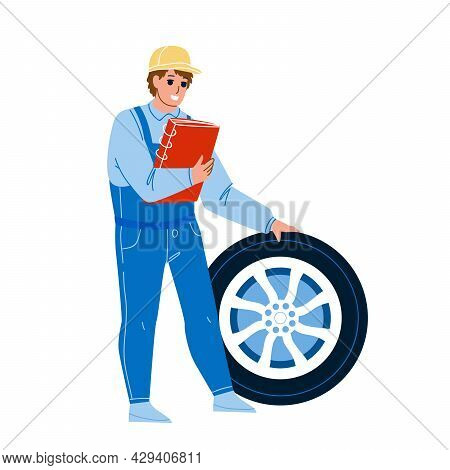 Mechanic Man Repair Flat Tire Car Wheel Vector. Vehicle Service Worker Checking And Fixing Transport