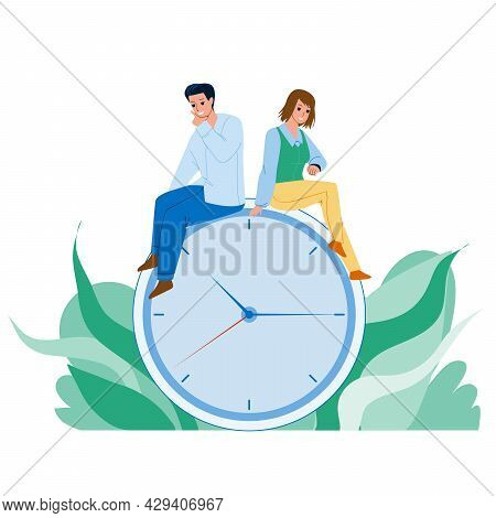 Time Management Young Man And Woman Couple Vector. Boy And Girl Sitting On Clock And Managing Or Sav