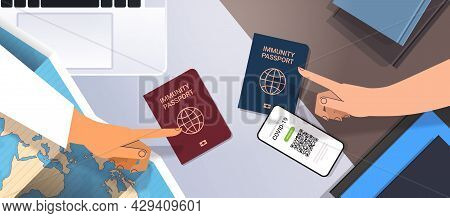Hands Pointing At Global Immunity Passports Risk Free Covid-19 Re-infection Pcr Certificate Coronavi