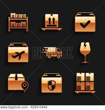 Set Delivery Truck In Movement, Box Security Shield, Cardboard Boxes On Pallet, Fragile Broken Glass