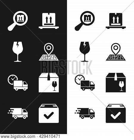 Set Placeholder On Map, Fragile Broken Glass, Search Package, Cardboard Boxes Pallet, Delivery Truck