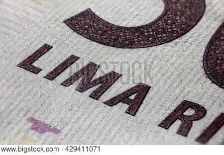 Macro Photography Of A 5000 Rupiah Banknote. Close Up To The Indonesian Money. Banknote Of Indonesia