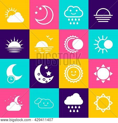 Set Sun, Eclipse Of The Sun, Cloud With Rain, Sunset, And Cloud Weather And Icon. Vector