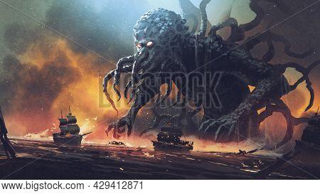 Dark Fantasy Scene Showing Cthulhu The Giant Sea Monster Destroying Ships, Digital Art Style, Illust
