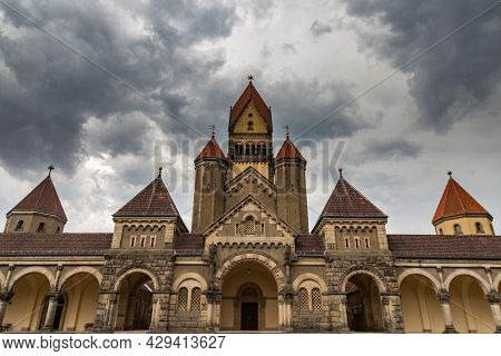 Leipzig, Germnay - September 10, 2021: The Chapel Of South Cemetery At The City Of Leipzig, A Wide A