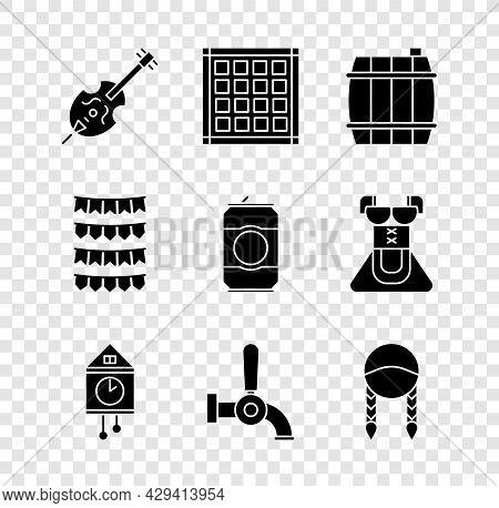 Set Violin, Checkered Napkin, Wooden Barrel, Retro Wall Watch, Beer Tap, Braid, Carnival Garland Wit