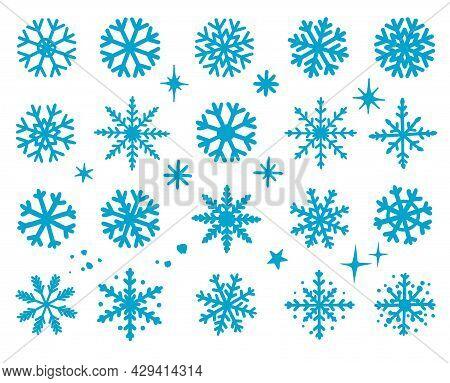 Hand Drawn Snowflakes Winter Set Silhouettes Icons