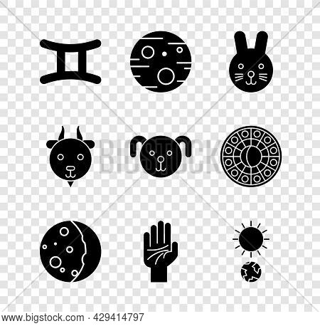 Set Gemini Zodiac, Planet Mars, Rabbit, Eclipse Of The Sun, Palmistry Hand, Solstice, Aries And Dog