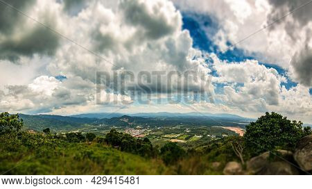 On The Top Of Broga Hill, Selangor, Malaysia. Tilt Shift View Over The Landscape Of Selangor From To
