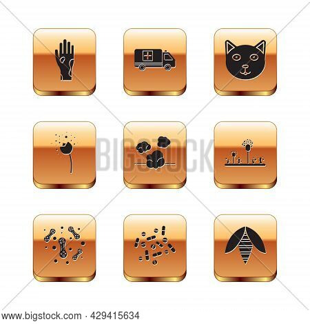 Set Hand With Psoriasis Or Eczema, Bacteria, Medicine Pill Tablet, Dust, Flower Producing Pollen, Pe