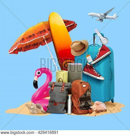 Summer Suitcase And Colorful Traveler Symbols. Copyspace To Text. Modern Design. Contemporary Pop Ar