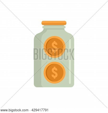 Crowdfunding Glass Jar Icon. Flat Illustration Of Crowdfunding Glass Jar Vector Icon Isolated On Whi
