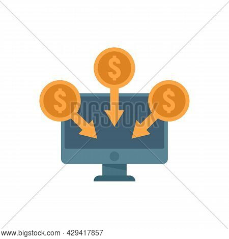 Crowdfunding Online Monitor Icon. Flat Illustration Of Crowdfunding Online Monitor Vector Icon Isola