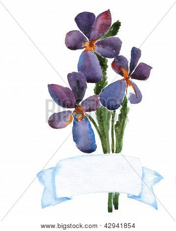 Watercolor Flowers With Banner