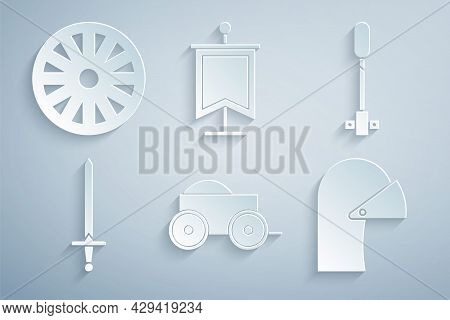 Set Wooden Four-wheel Cart, Torch Flame, Medieval Sword, Iron Helmet, Flag And Old Wooden Icon. Vect