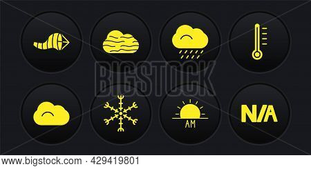 Set Cloud, Meteorology Thermometer, Snowflake, Sunrise, With Rain, Fog And Cloud, Not Applicable And