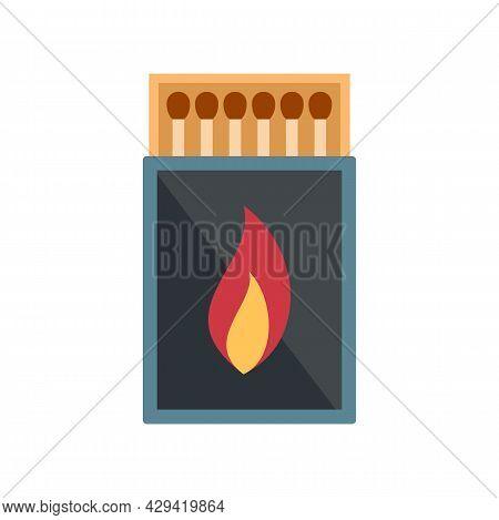 Survival Matches Box Icon. Flat Illustration Of Survival Matches Box Vector Icon Isolated On White B