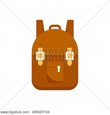 Survival Backpack Icon. Flat Illustration Of Survival Backpack Vector Icon Isolated On White Backgro