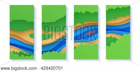 Set Of Top View Cloudy Landscape Banners In Paper Cut Style. Eco Tourism 3d Flyers With Aerial View