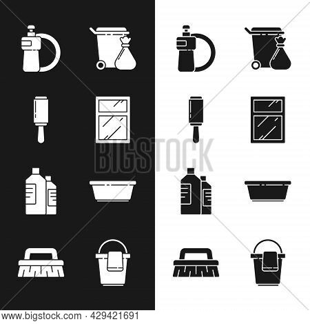 Set Cleaning Service For Windows, Adhesive Roller, Dishwashing Liquid Bottle And Plate, Trash Can Ga