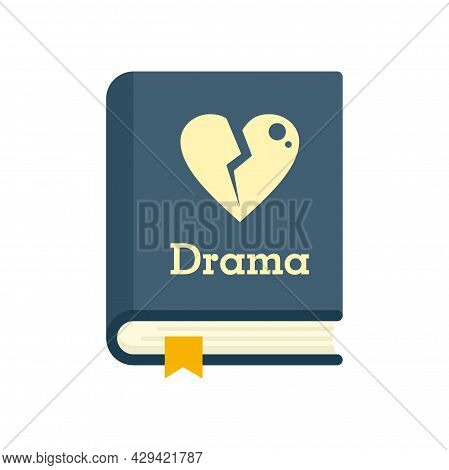 Drama Literary Genre Book Icon. Flat Illustration Of Drama Literary Genre Book Vector Icon Isolated