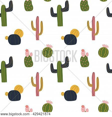 Cactus Seamless Pattern In Cute Cartoon Style, Yellow, Green, Pink And Navy Blue Color. Repeat Backg