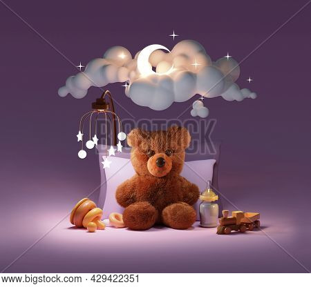 Fluffy baby teddy bear sleeping under the moon and stars. Teddy bear on pillows with toys, mobile, and baby milk bottle. Cloudy sky, shining moon and stars behind. 3d illustration