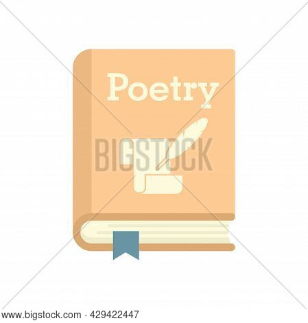 Literary Poetry Book Icon. Flat Illustration Of Literary Poetry Book Vector Icon Isolated On White B