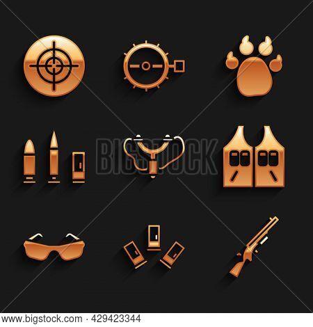 Set Slingshot, Cartridges, Shotgun, Hunting Jacket, Glasses, Bullet And Cartridge, Paw Print And Tar