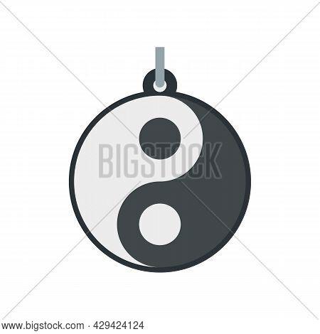 Yin Yang Emblem Icon. Flat Illustration Of Yin Yang Emblem Vector Icon Isolated On White Background
