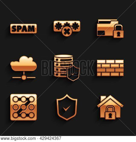 Set Server With Shield, Shield Check Mark, House Under Protection, Firewall, Security Wall, Graphic