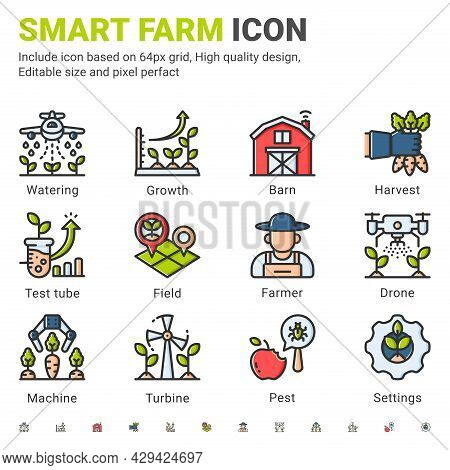 Vector Smart Farm Icon Set Isolated On White Background. Illustration Outline Color Symbols Of Techn