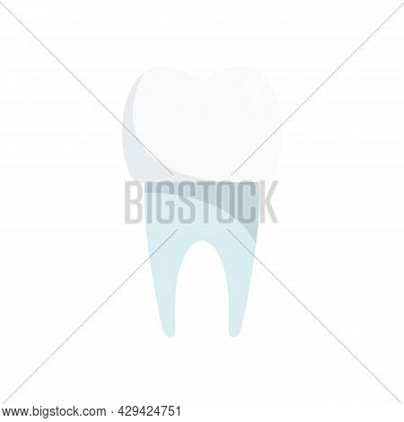 Tooth White Implant Icon. Flat Illustration Of Tooth White Implant Vector Icon Isolated On White Bac