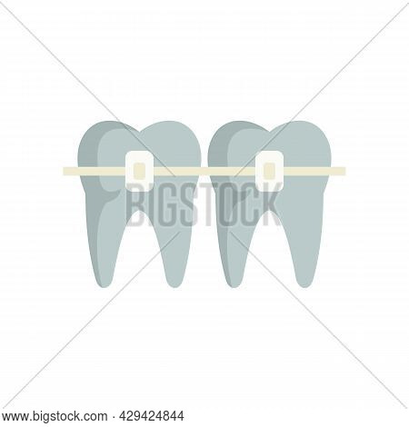 Tooth Brackets Icon. Flat Illustration Of Tooth Brackets Vector Icon Isolated On White Background