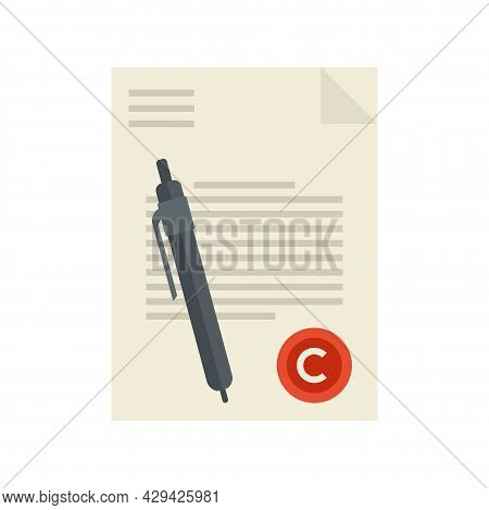 Mission Document Icon. Flat Illustration Of Mission Document Vector Icon Isolated On White Backgroun