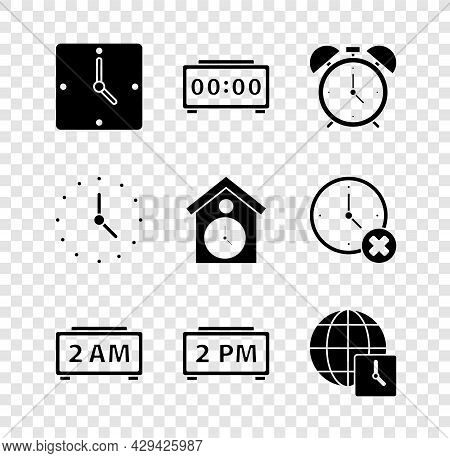 Set Clock, Digital Alarm Clock, Alarm, World Time, And Retro Wall Watch Icon. Vector