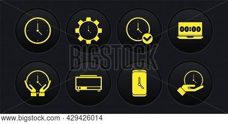 Set Clock, On Laptop, Digital Alarm Clock, Alarm App Mobile, Time Management, And Icon. Vector